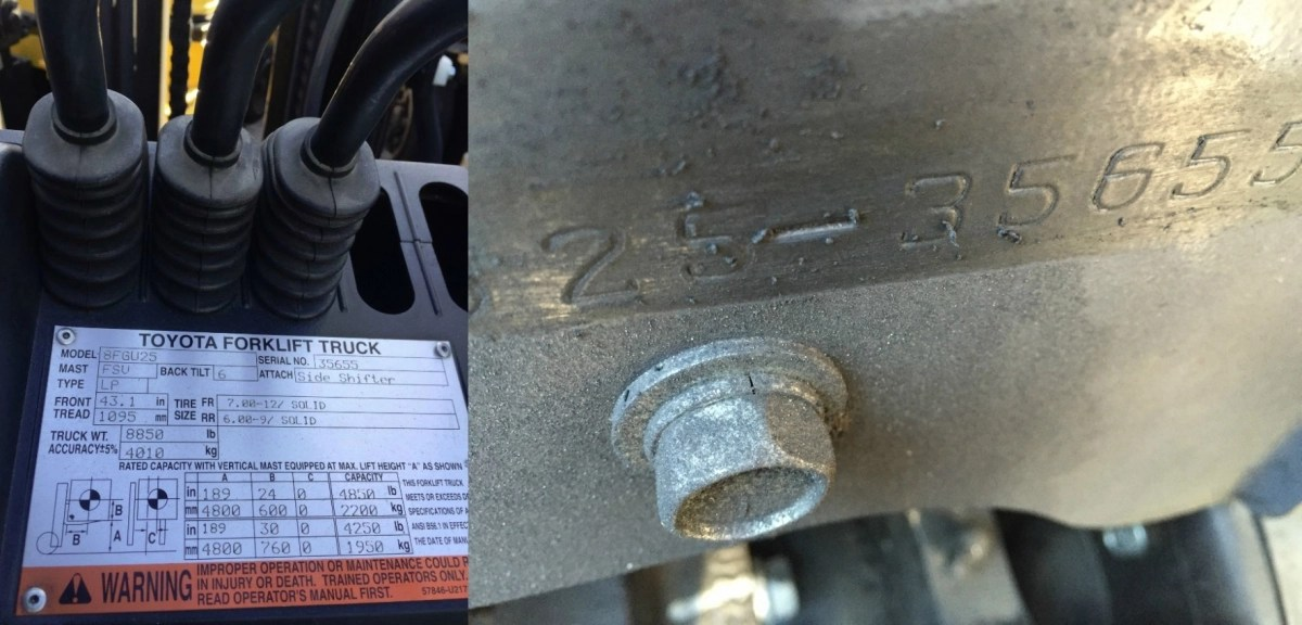 Where do I find my Toyota forklift\u0027s serial number?
