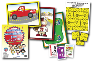 "Example package contents of Mastering Multiplication Facts in 10 and 10. Depicts Teacher book, 3 mnemonic posters, 3 flash cards, and the ""Tricky Multiplication Facts"" Square Scrambles game"