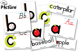 Examples of Get the Picture abc-pics vocabulary cards, including 3 picture cards, 3 word picture cards, and 3 flash cards, all for letters A, B, and C