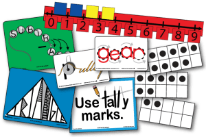 Examples of Kindergarten Kit bundle contents. Two cards from Science Vocabulary Pictures Early Grades K-2 (Pulley, Gear), 2 cards from Math Target Vocabulary (Subtract, Triangle), 1 Operations Options poster (Use tally marks), 3 ten frame flash cards, and the floor number line