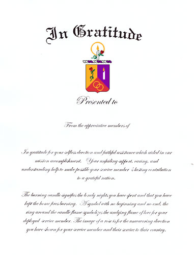 In Gratitude Certificate, MilitaryWives Online Store