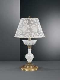 Brass table lamp with white porcelain and lamp shade ...