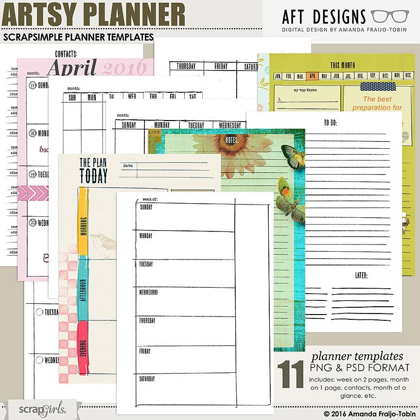 Digital and Hybrid Calendar and Planner templates by Amanda Fraijo