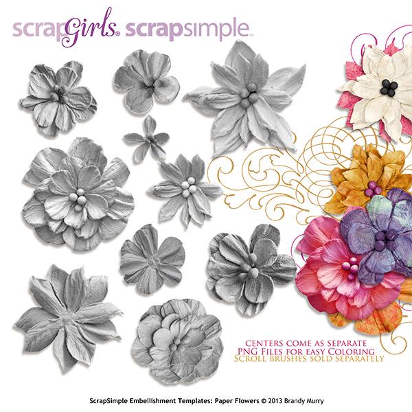 ScrapSimple Embellishment Templates Paper Flowers - flower template