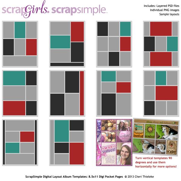 ScrapSimple Digital Layout Album Templates 85x11 Digi Pocket Pages