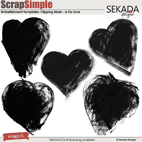 ScrapSimple Embellishment Templates Is For Love Clipping Mask