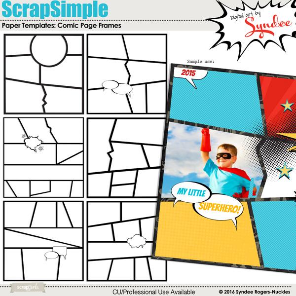 Digital scrapbooking kit ScrapSimple Paper Templates Comic Page