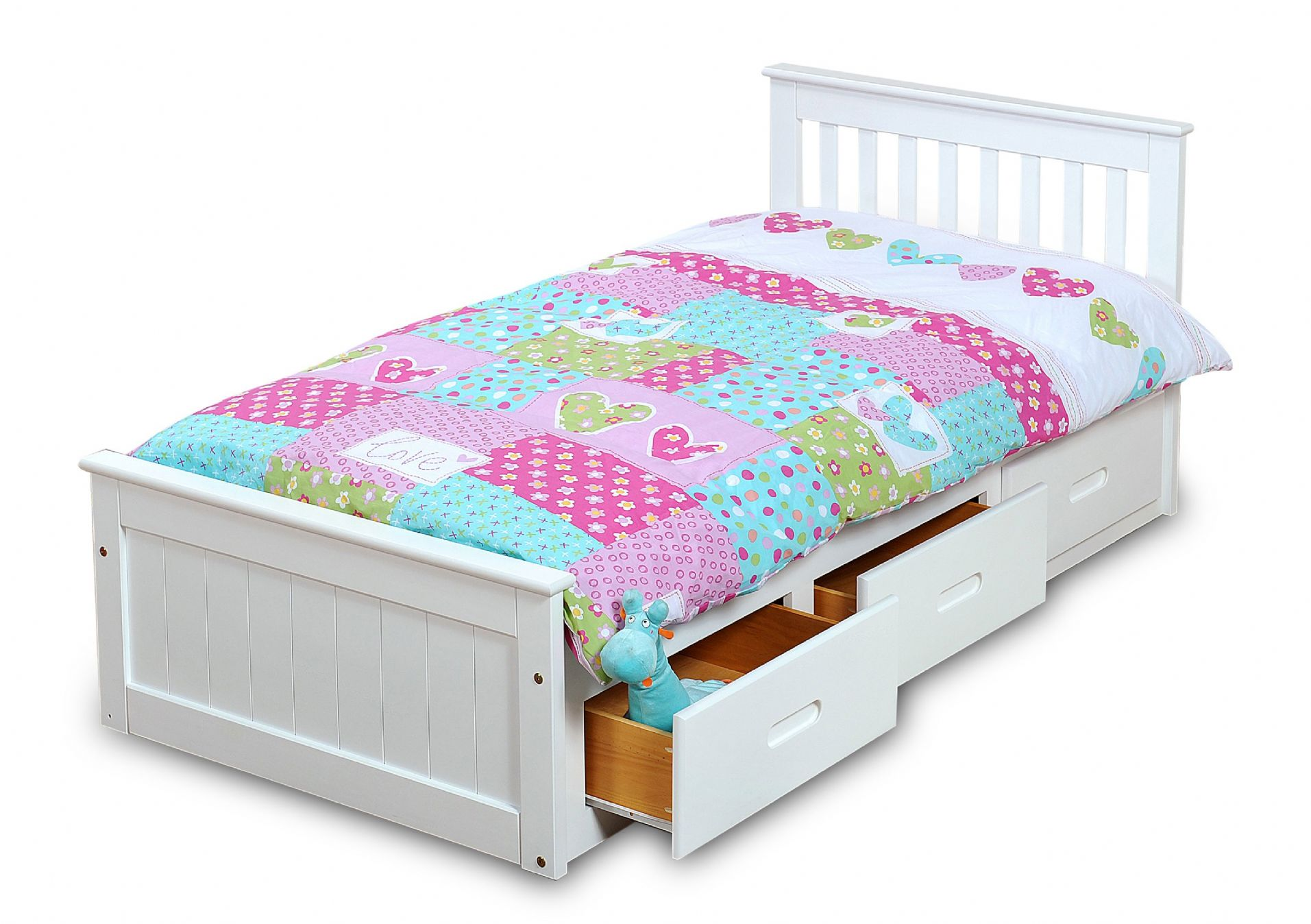 Single Bed With Storage Drawers White Mission Children S 3ft Single Wooden Bed With 3