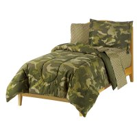 Geo Camo Full Bedding Set 7pc Green Camoflauge Bed