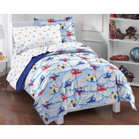 Planes Clouds Twin Bedding Set - 5pc Helicopter Airplane ...