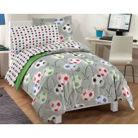 Soccer Balls Twin Bedding Set - 5pc Comforter Sheets