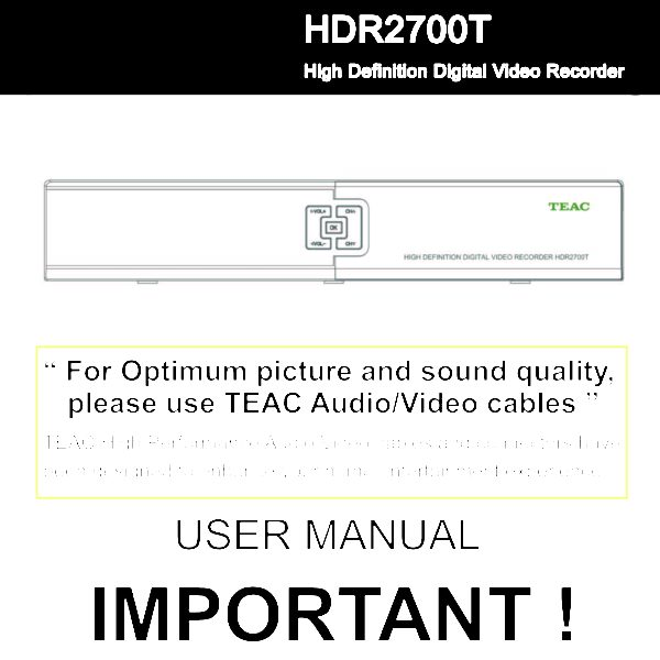 TEAC HDR2700T Instruction Manual \u2014 Store809 - instruction manual