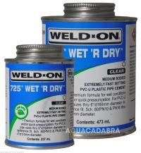 WELD-ON 725 WET R DRY PLASTIC PVC FILTER PIPE CEMENT GLUE ...