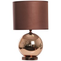 KLIVING OSTEND COPPER TABLE LAMP WITH MATCHING CHOCOLATE ...