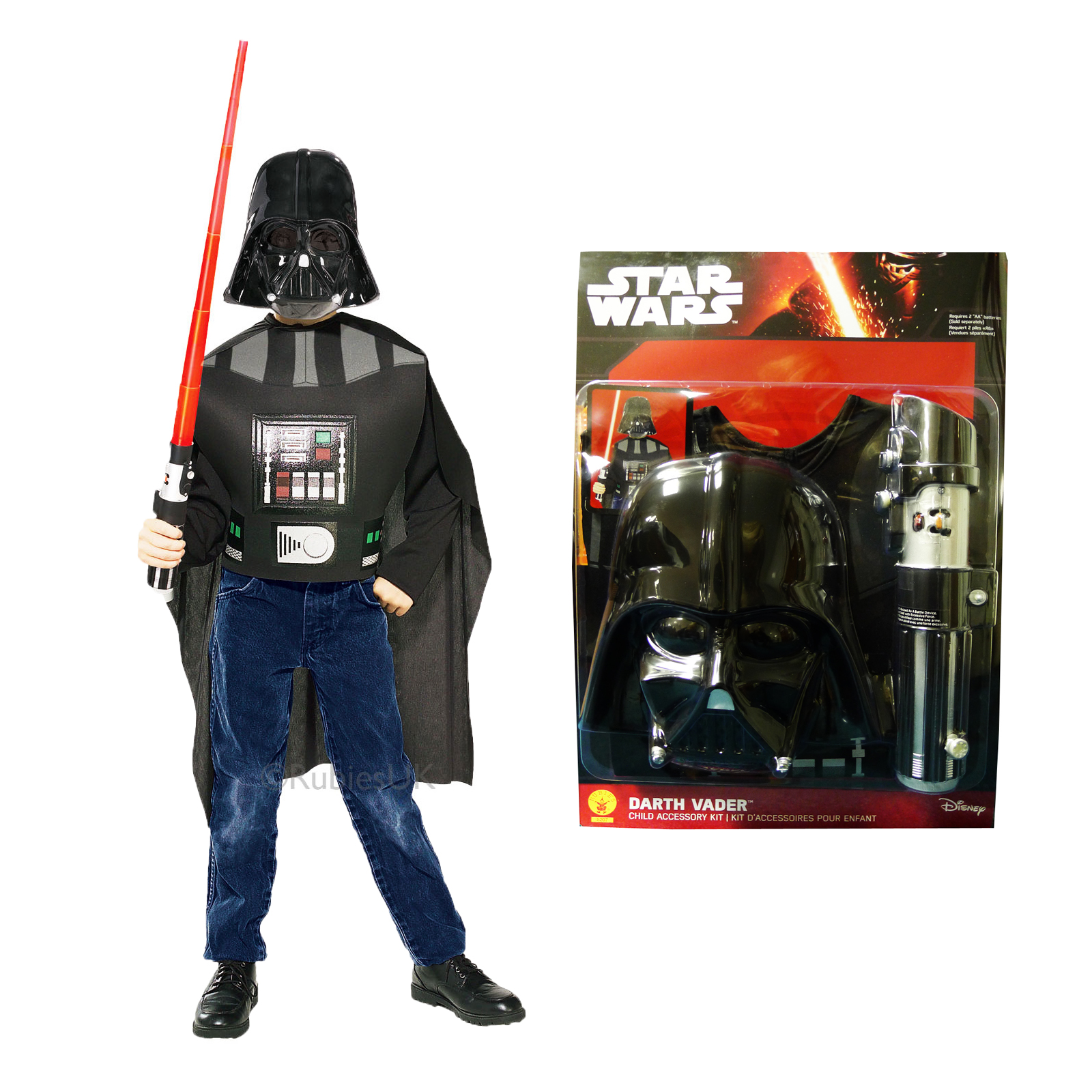 Star Wars Bettwäsche Leuchtend Kinder Darth Vader Kostüm Rubies Leuchtend Lightsaber Star