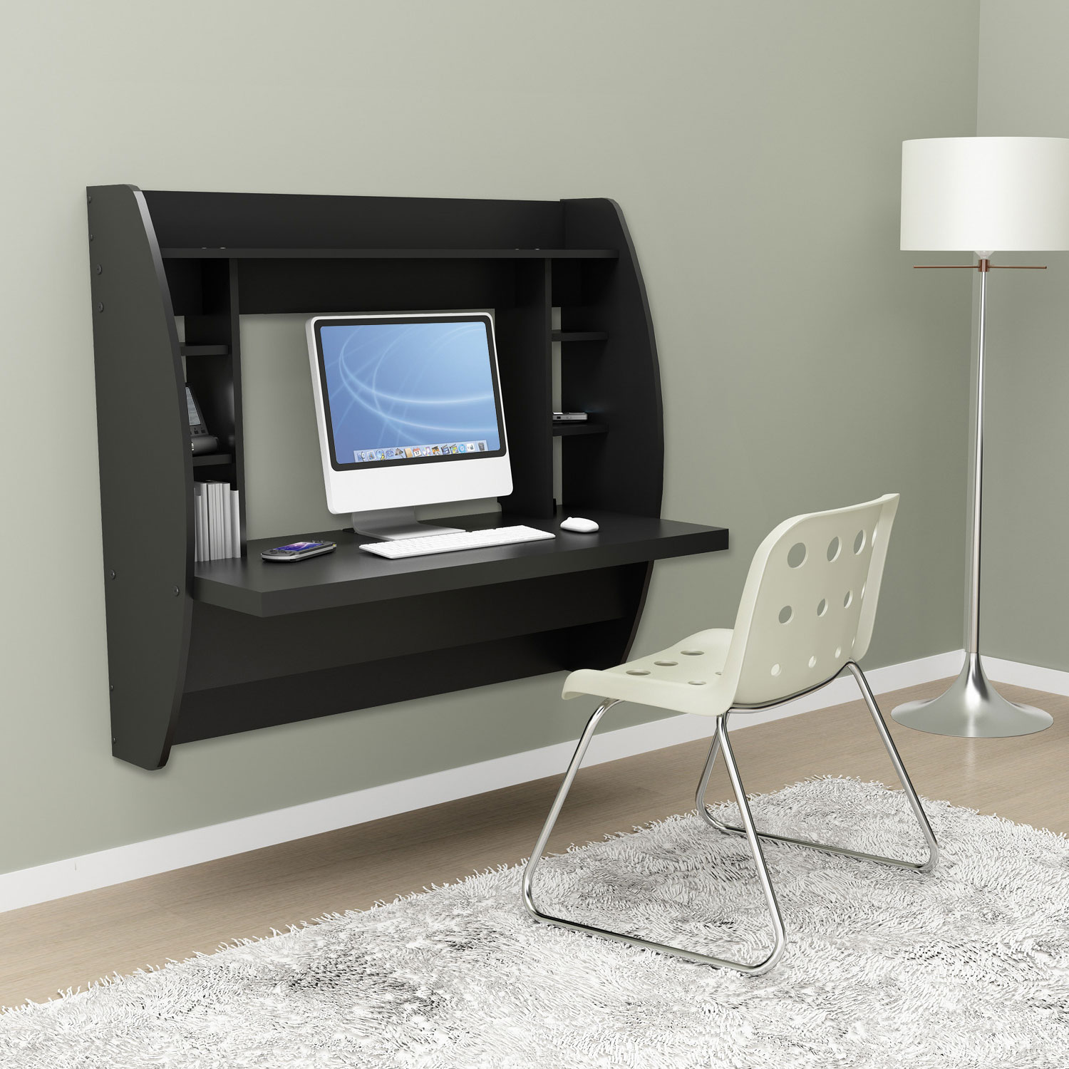 Wall Mounted Desks For Small Spaces Black Floating Desk With Storage
