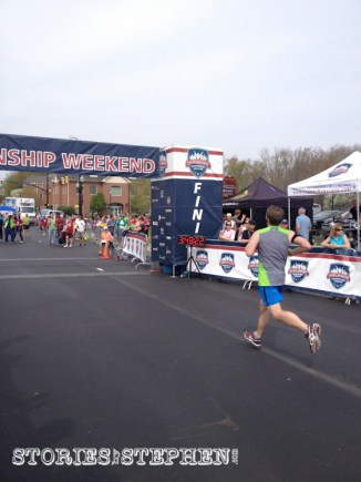 Painfully approaching the finish line in the 75º heat.