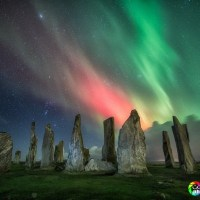 Admiring the Aurora Borealis from the Isle of Lewis