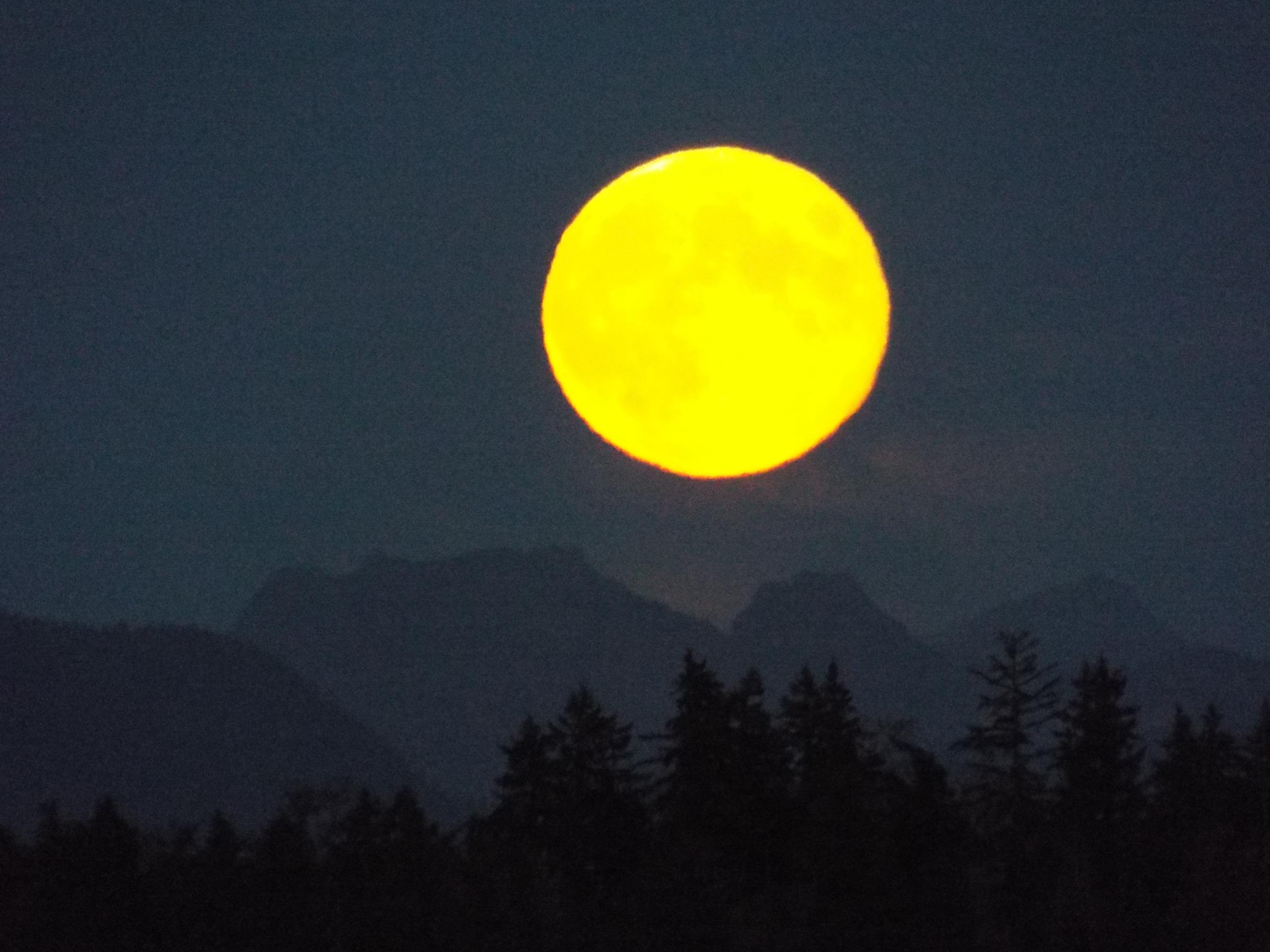 Harvest Moon Over The Cascades