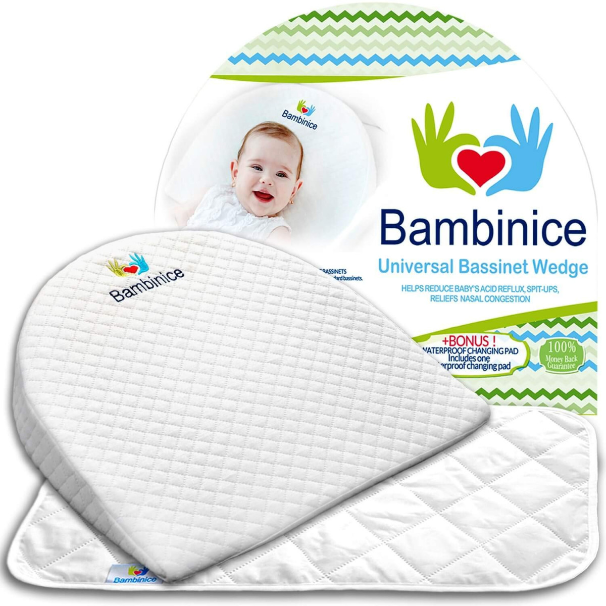 Newborn Bassinet Reflux Bambinice Universal Bassinet Wedge Infant Crib Pillow Waterproof Changing Pad Liner Portable Incline Cushion Newborn Reflux And Nasal Congestion