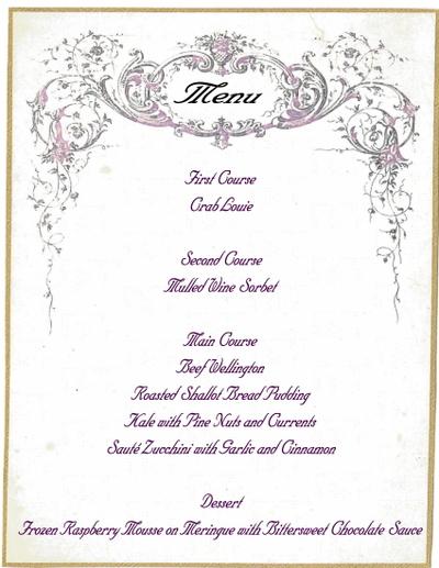 formal dinner party menu template - party menu template