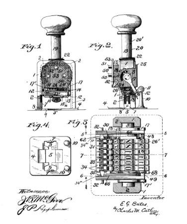 A Bates Numbering Machine. Image via US Patent Office.