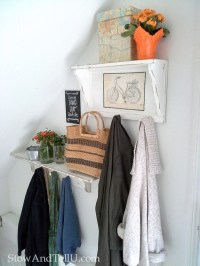 White Painted Coat Rack Shelves with Vintage Bicycle