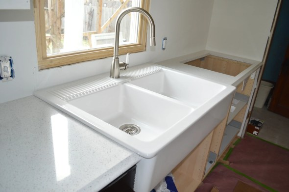 white ikea farmhouse sink installed