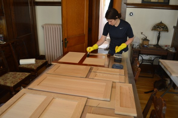 Dye stain cabinets