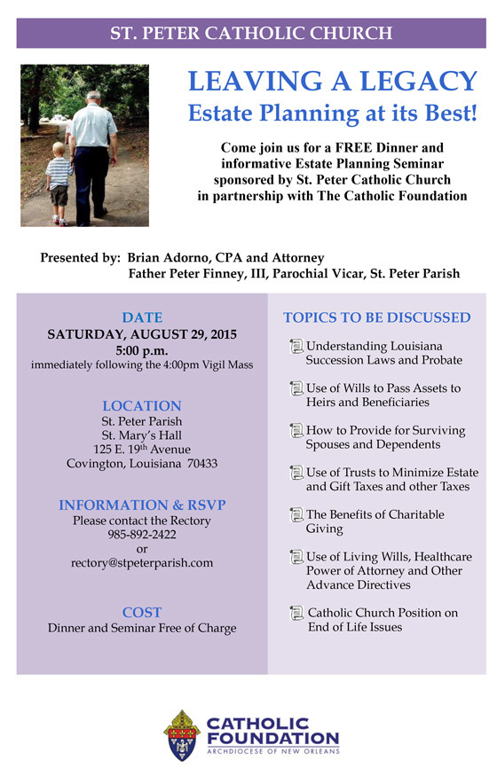 Estate Planning Seminar St Peter Catholic Church Covington, LA