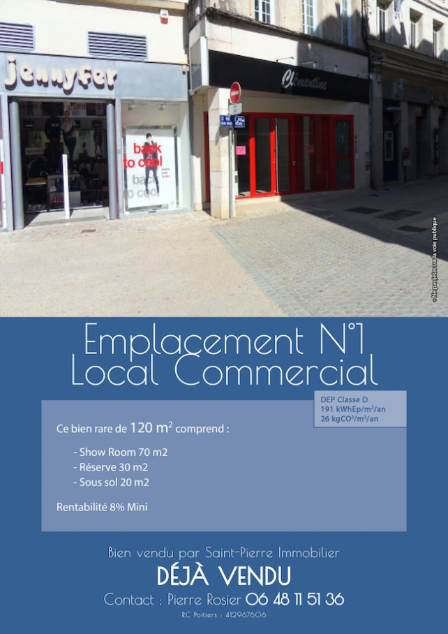 vente local commercial emplacement n°1 rue ricard à niort st pierre immobilier