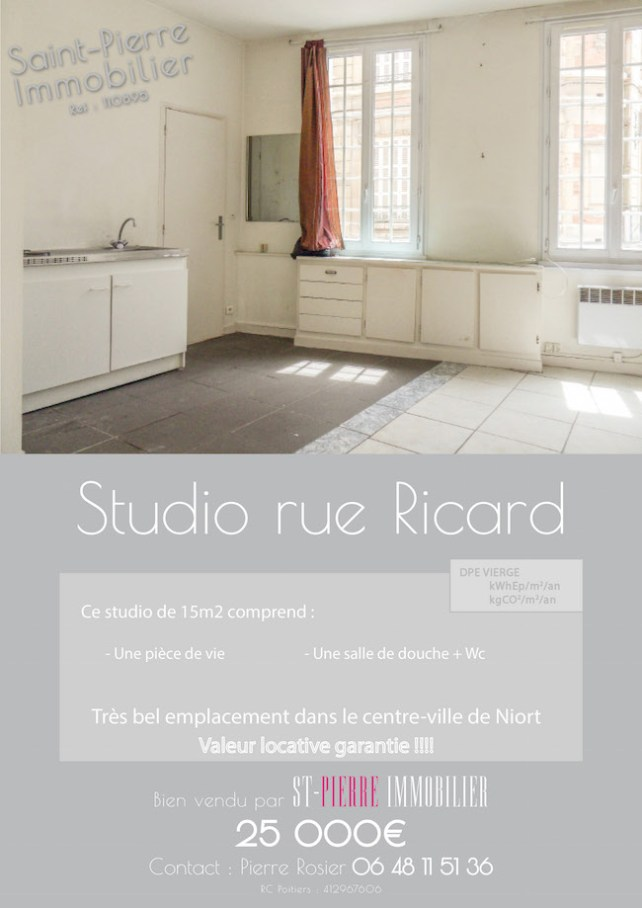 vente studio rue ricard centre ville niort immobilier