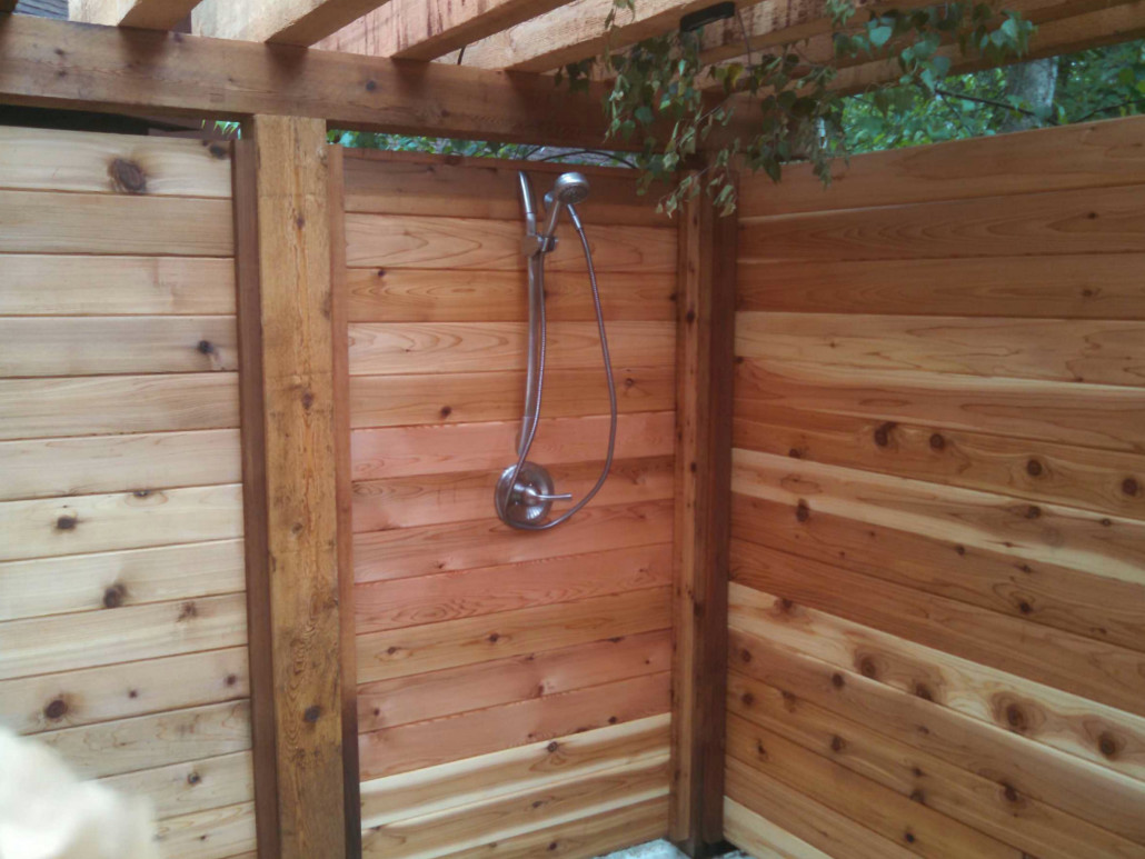 Industrial Outdoor Shower Custom Wood Portfolio Straight Line Fence