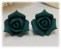 Teal Rosebud Stud Earrings