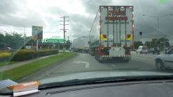 Big, forward control lorries are common in Australia even in urban areas. They hammer along everywhere, apparently in all lanes.