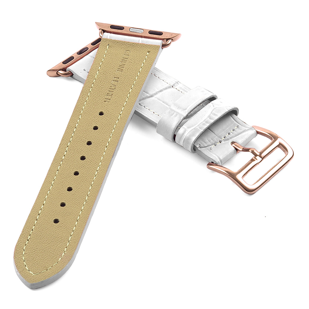 Leather Strap Rose Gold Watch Dassari Croc Embossed Leather Strap W Hermes Rose Gold Buckle Style For Apple Watch