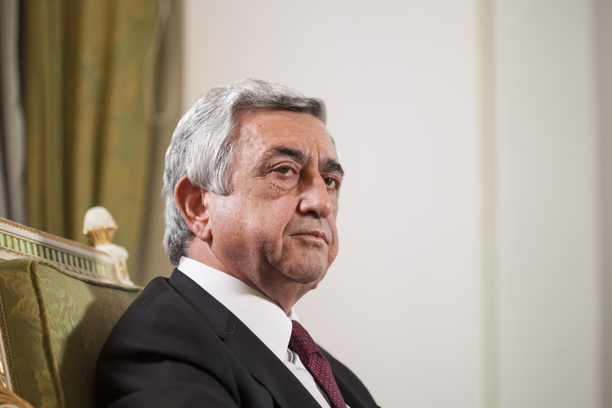 Serzh Sargsyan, Armenia's president, speaks during an interview at his residence in Yerevan, Armenia, on Saturday, April 23, 2016. XXX ADD SECOND SENTENCE HERE XXX. Photographer: Daro Salukauri *** Local Caption *** Serzh Sargsyan