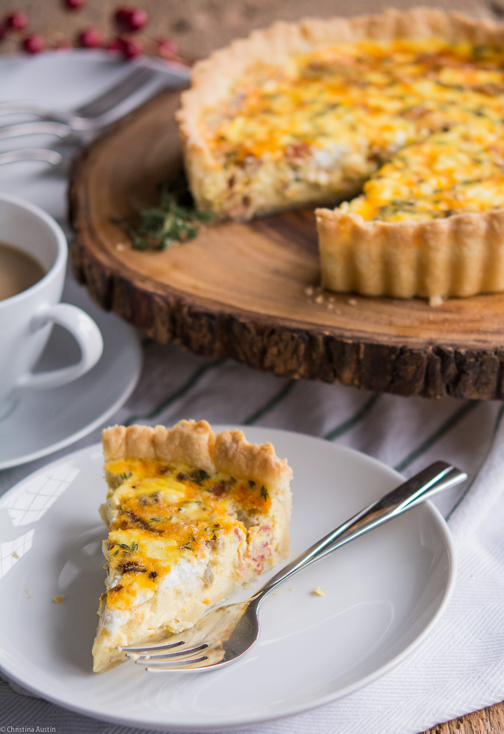 Pancetta Cheddar and Goat Cheese Quiche