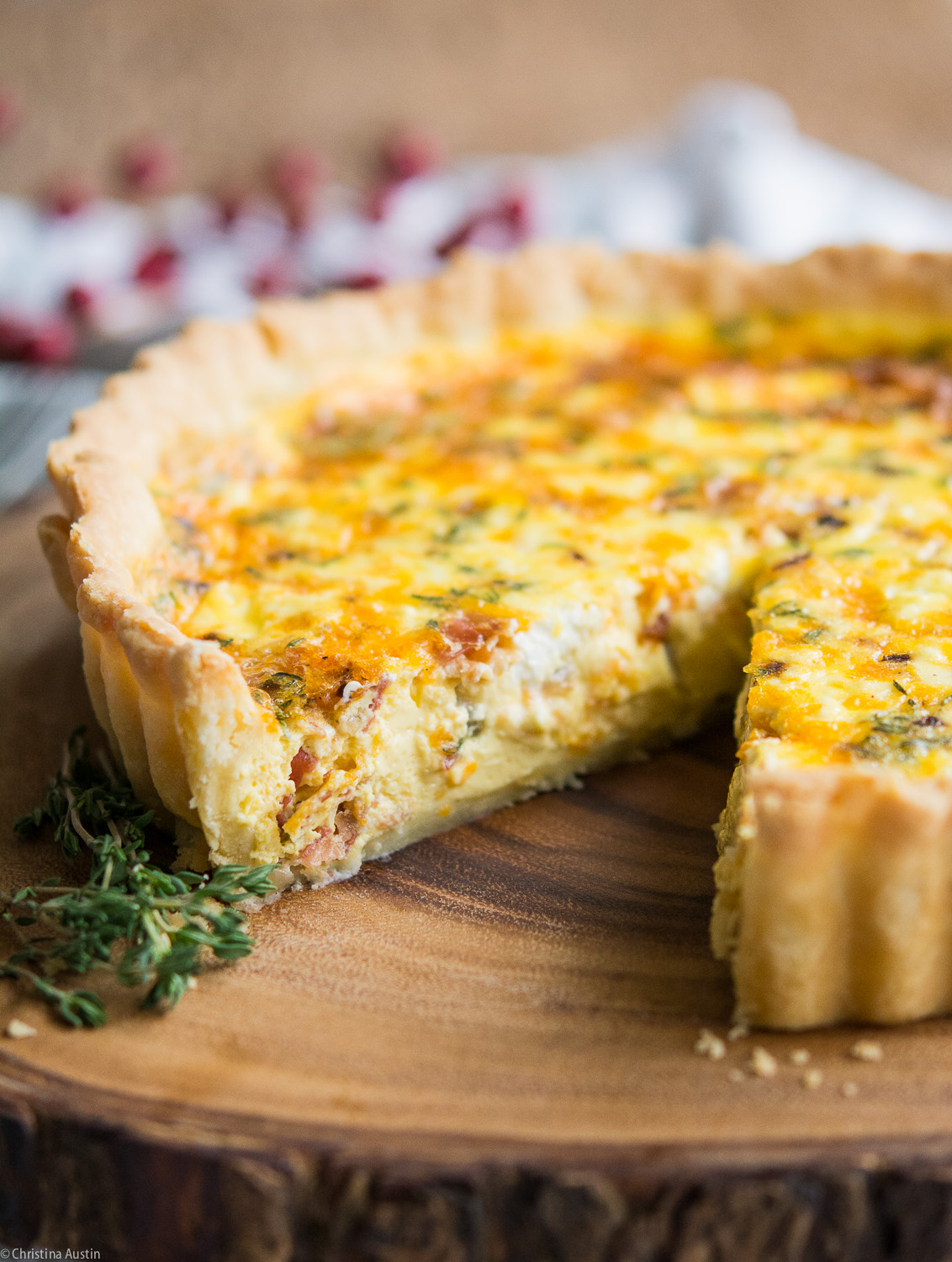 quiche with pancetta, cheddar cheese, goat cheese, and shallots ...