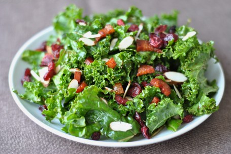 Kale Salad with pancetta, sliced almonds and dried cranberries