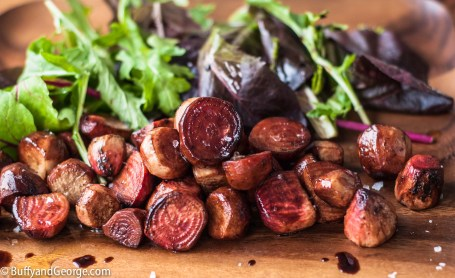 Candy Cane beets with a simple salad of mixed greens