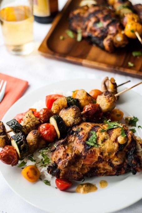 Tandoori Turkey Thighs with Mushroom and Zucchini Skewers ...