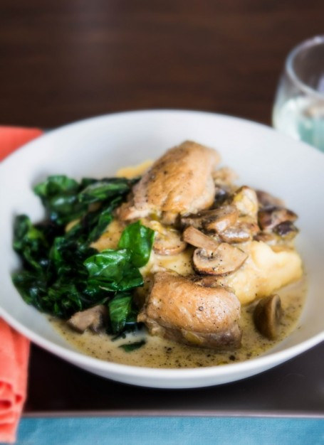 Braised Chicken Thighs in Mushroom Cream sauce