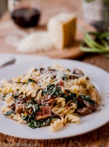Sit down to a delicious dinner of pasta, pancetta, kale and cream. It will be a new favourite.