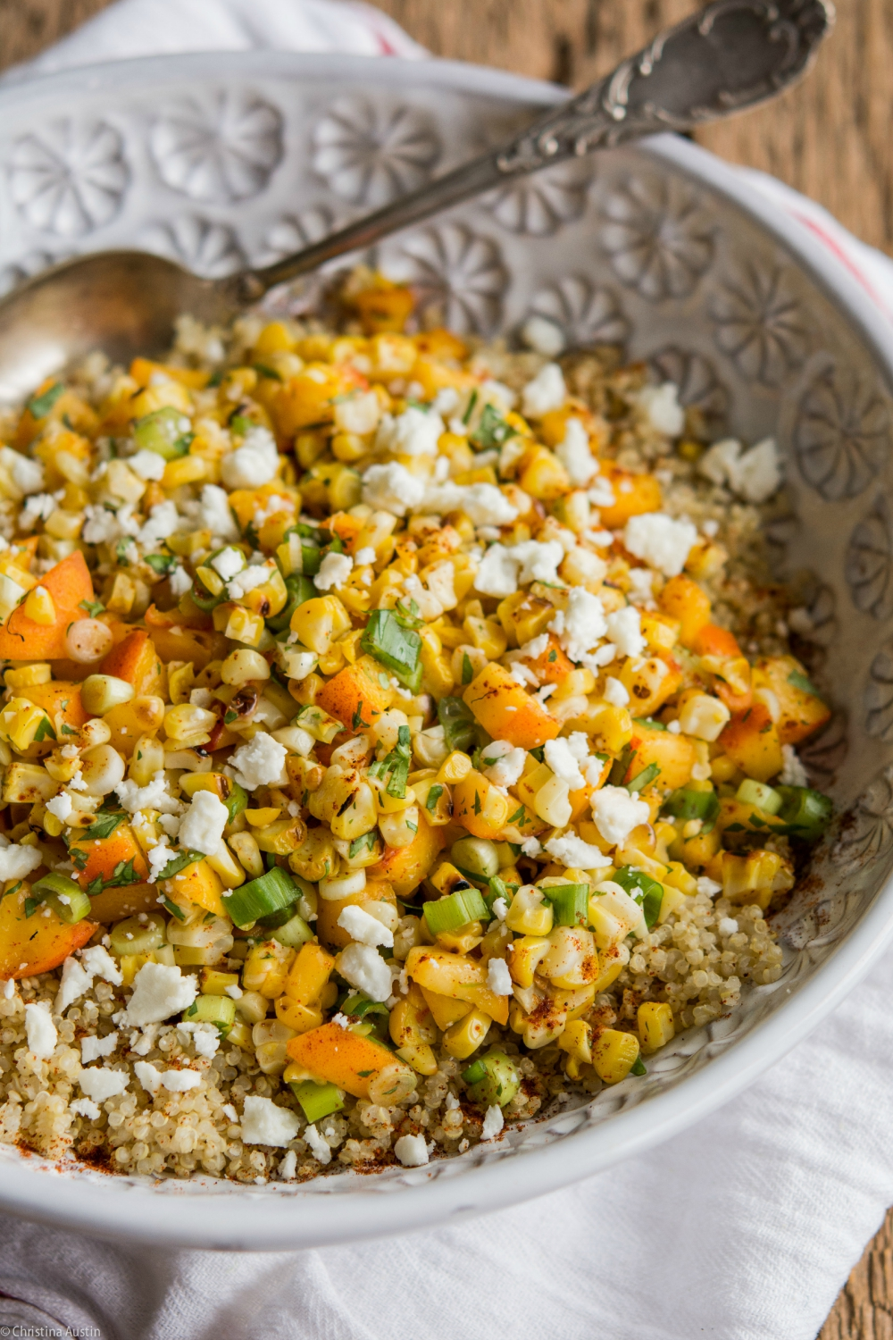 Grilled Sweet Corn and Peach Quinoa Salad - Strawberries For Supper