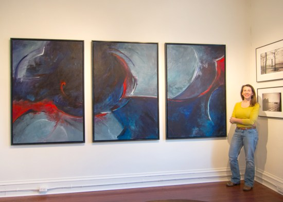 Lisa Strazza With Large Abstract Painting