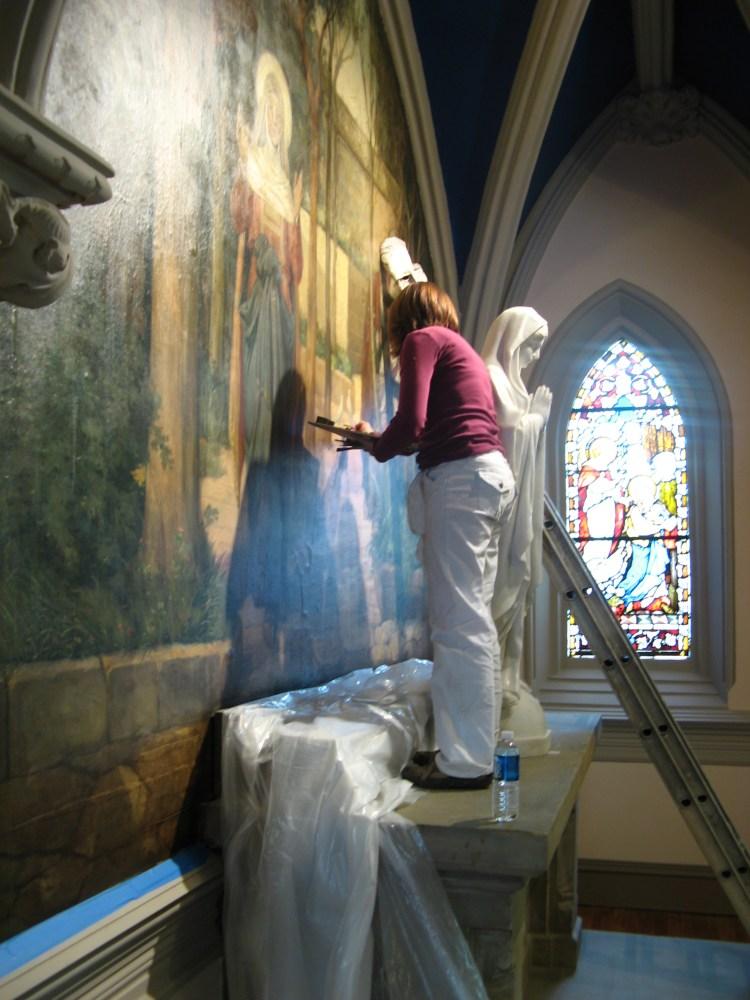 Strazza Restoring Church Mural