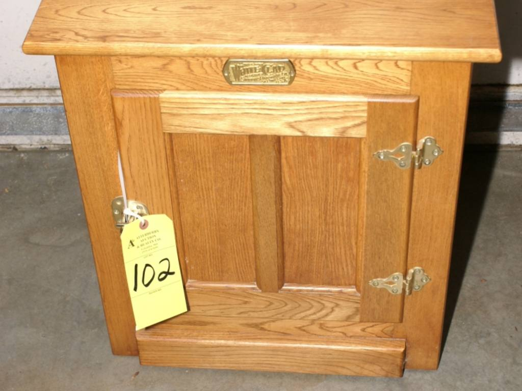 Box End Table Oak White Clad Ice Box Style End Table
