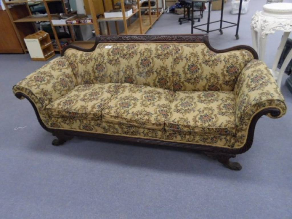 Sofa Queen Anne Style Victorian Couch Sofa Solid Wood Construction Carved Queen