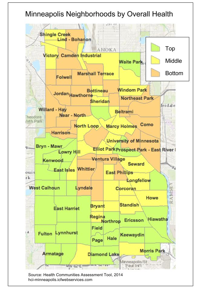 Map Monday Rankings of Minneapolis Neighborhoods by Overall Health